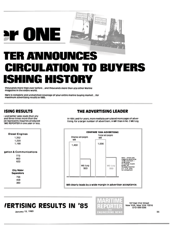 Maritime Reporter Magazine, page 23,  Jan 15, 1985 media buyers