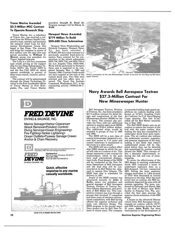 Maritime Reporter Magazine, page 26,  Jan 15, 1985
