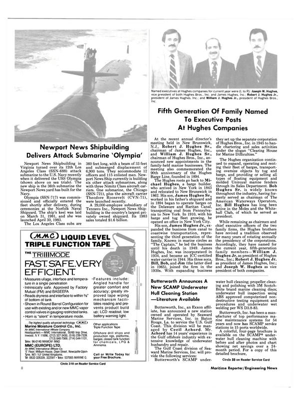 Maritime Reporter Magazine, page 6,  Jan 15, 1985