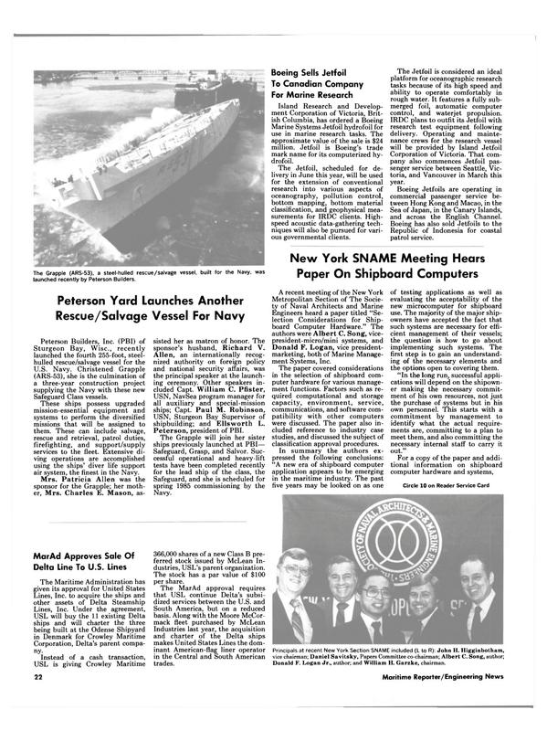 Maritime Reporter Magazine, page 22,  Feb 15, 1985