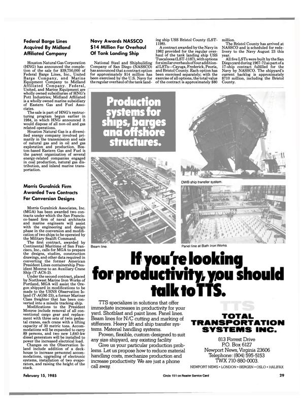 Maritime Reporter Magazine, page 29,  Feb 15, 1985