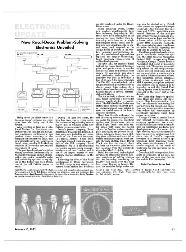 Maritime Reporter Magazine, page 41,  Feb 15, 1985