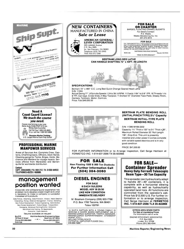 Maritime Reporter Magazine, page 48,  Feb 15, 1985