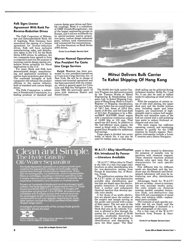 Maritime Reporter Magazine, page 6,  Feb 15, 1985