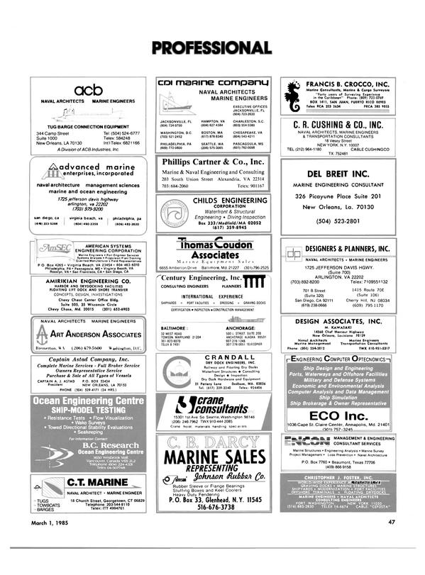 Maritime Reporter Magazine, page 45,  Mar 1985 South Carolina