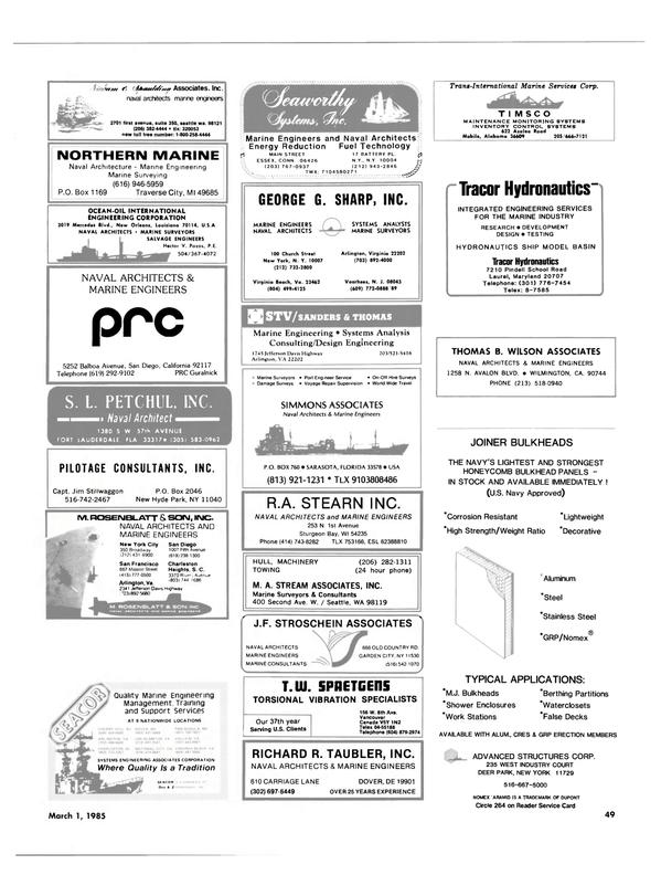 Maritime Reporter Magazine, page 47,  Mar 1985 Delaware