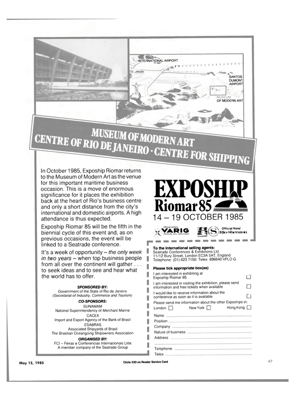 Maritime Reporter Magazine, page 45,  May 15, 1985 CACEX Import and Export Agency of the Bank of Brasil ESABRAS