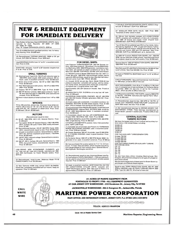 Maritime Reporter Magazine, page 46,  May 15, 1985