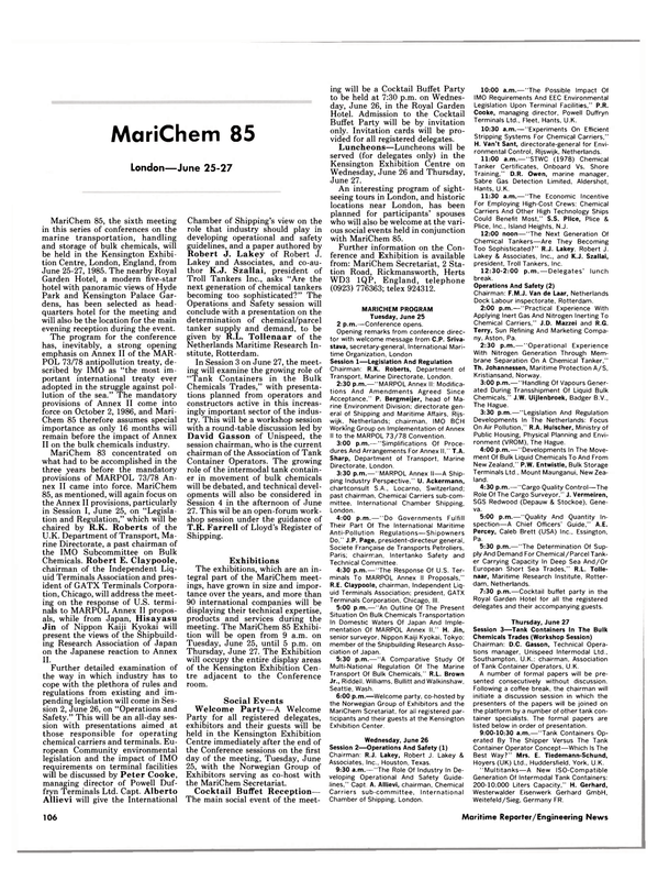 Maritime Reporter Magazine, page 108,  Jun 1985