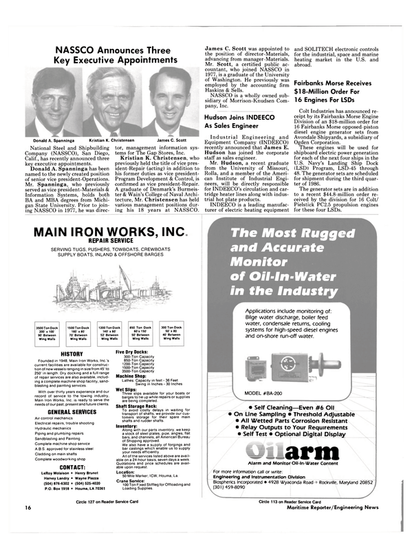 Maritime Reporter Magazine, page 14,  Aug 1985 Maryland