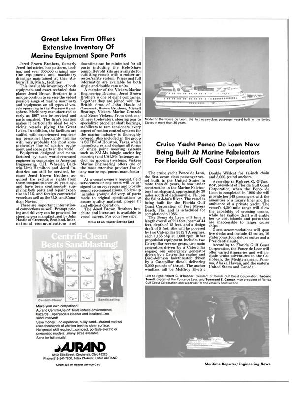 Maritime Reporter Magazine, page 30,  Aug 1985 Michigan