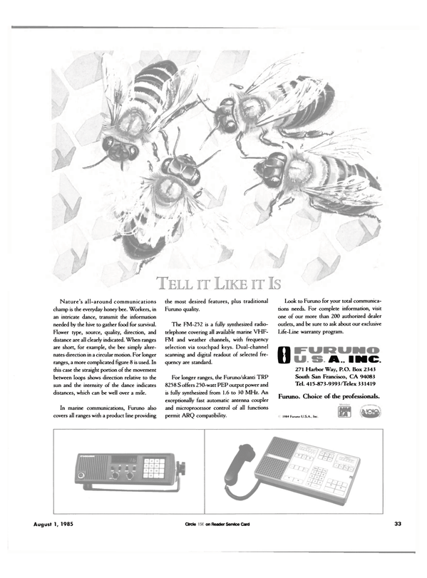 Maritime Reporter Magazine, page 35,  Aug 1985 marine communications