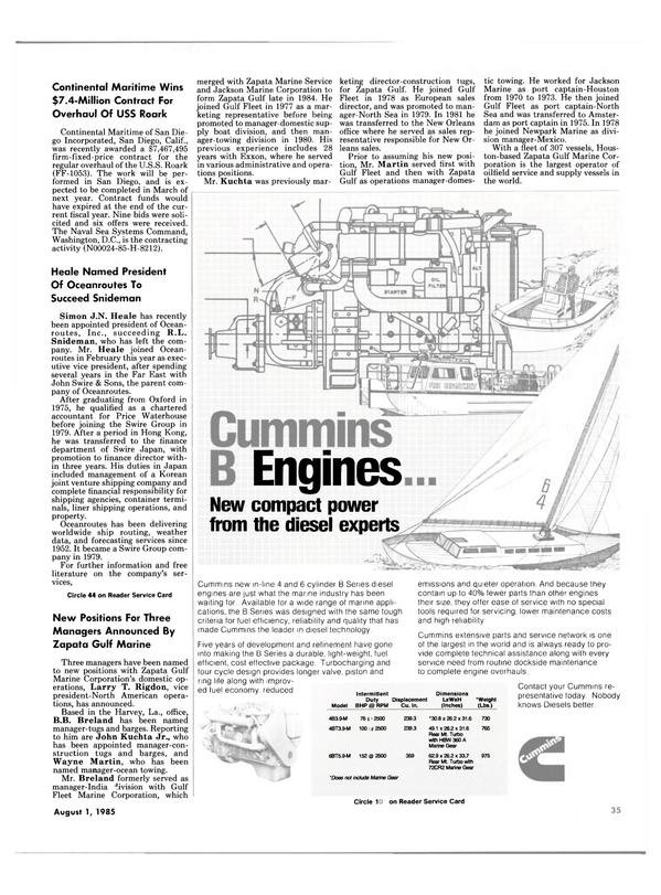 Maritime Reporter Magazine, page 37,  Aug 1985 California