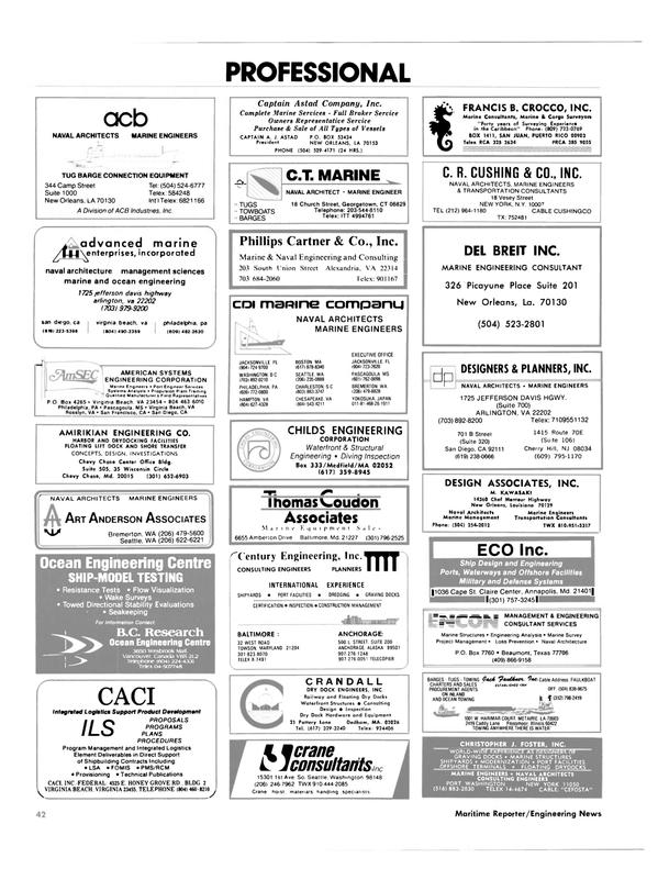 Maritime Reporter Magazine, page 44,  Aug 1985 Florida