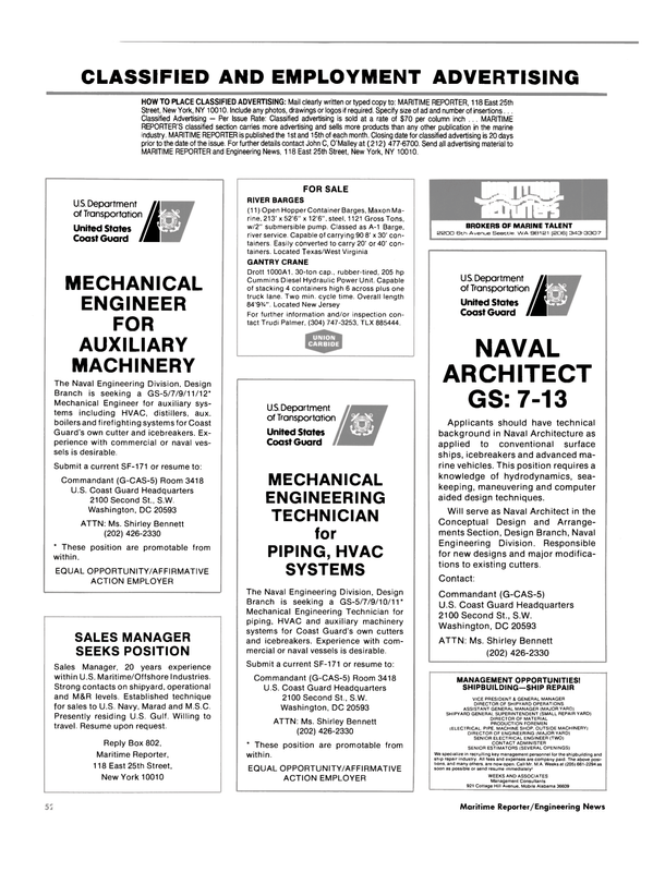Maritime Reporter Magazine, page 54,  Aug 1985 New Jersey
