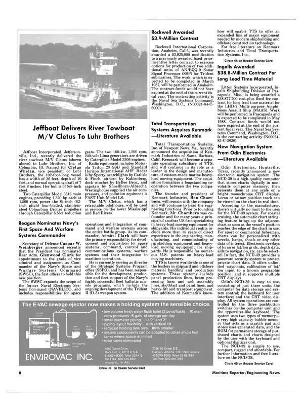 Maritime Reporter Magazine, page 6,  Aug 15, 1985