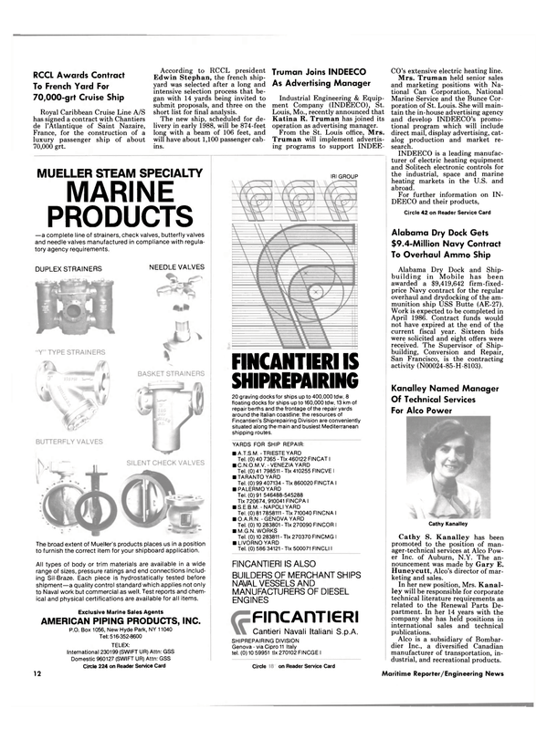 Maritime Reporter Magazine, page 10,  Sep 1985