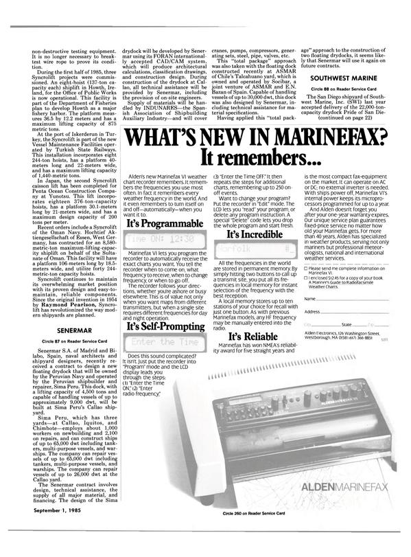 Maritime Reporter Magazine, page 21,  Sep 1985 Ontario