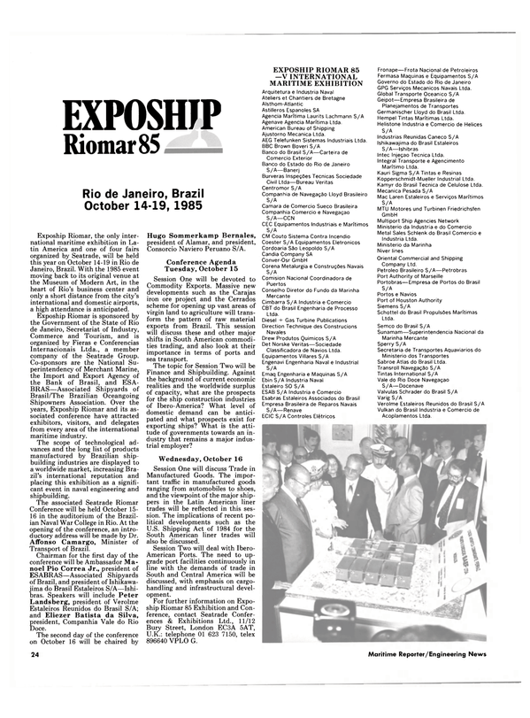 Maritime Reporter Magazine, page 24,  Sep 1985