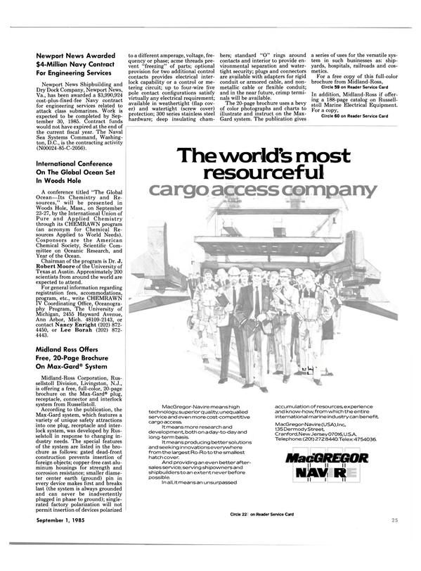 Maritime Reporter Magazine, page 25,  Sep 1985 Virginia
