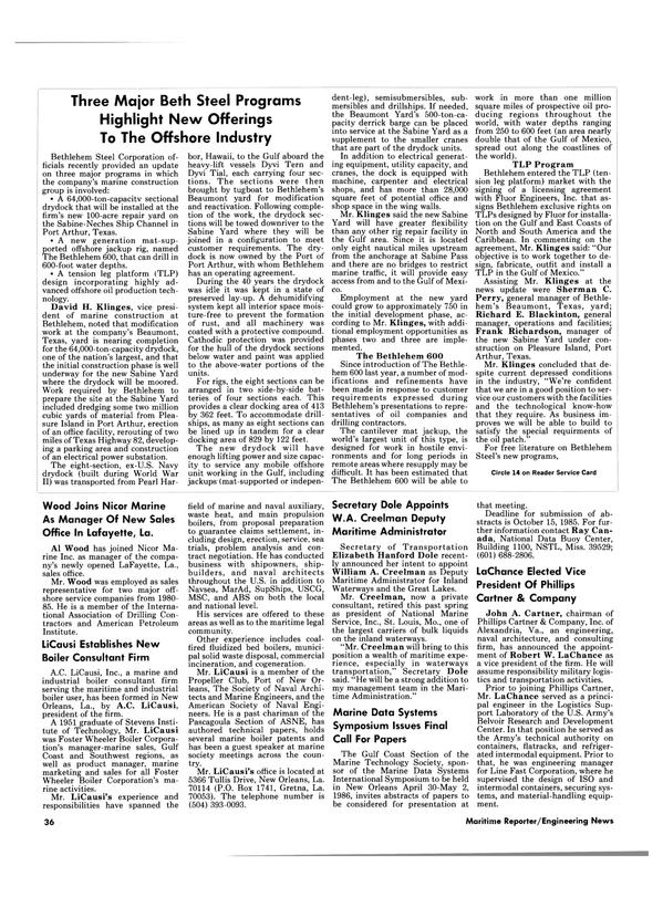 Maritime Reporter Magazine, page 36,  Sep 1985 Gulf coast