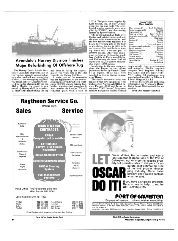 Maritime Reporter Magazine, page 44,  Sep 1985 Loran Furuno