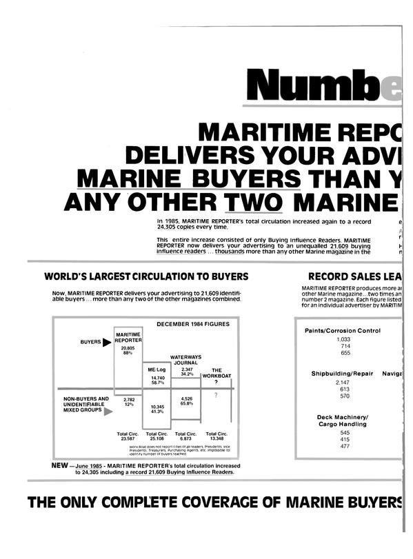 Maritime Reporter Magazine, page 22,  Sep 15, 1985 FIGURES WATERWAYS JOURNAL
