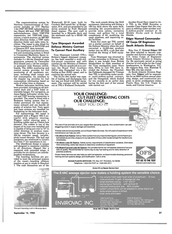 Maritime Reporter Magazine, page 33,  Sep 15, 1985