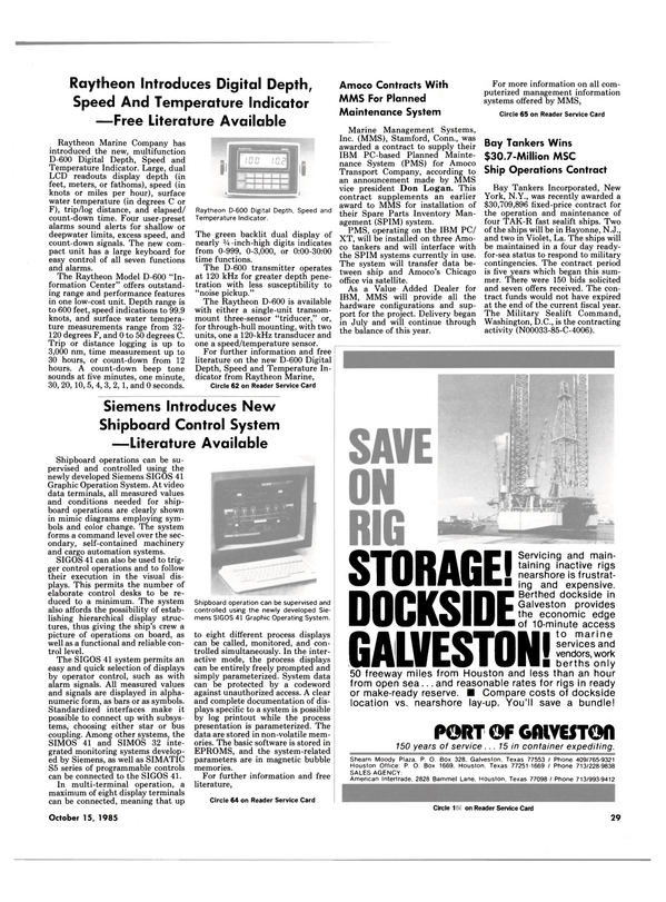 Maritime Reporter Magazine, page 27,  Oct 15, 1985 Connecticut