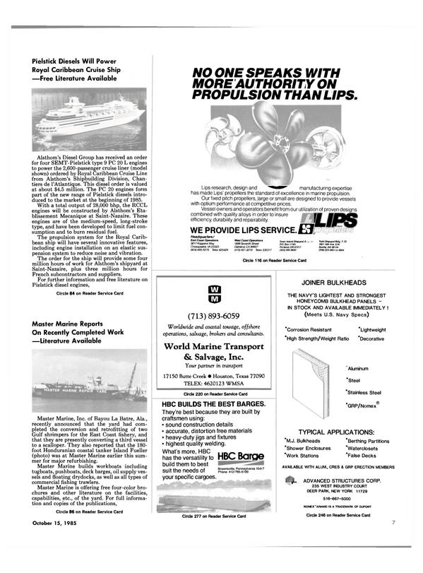 Maritime Reporter Magazine, page 5,  Oct 15, 1985