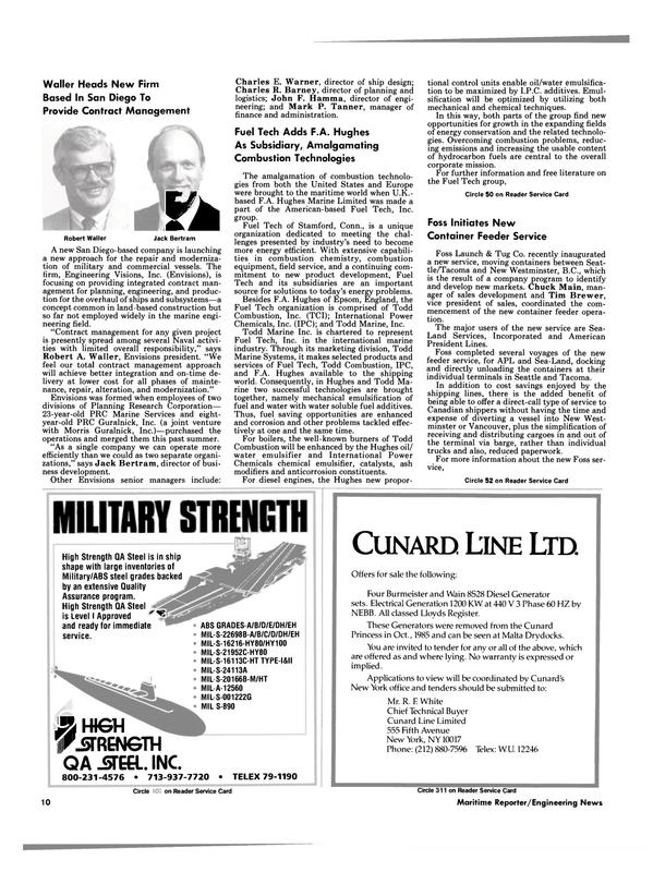 Maritime Reporter Magazine, page 8,  Nov 1985