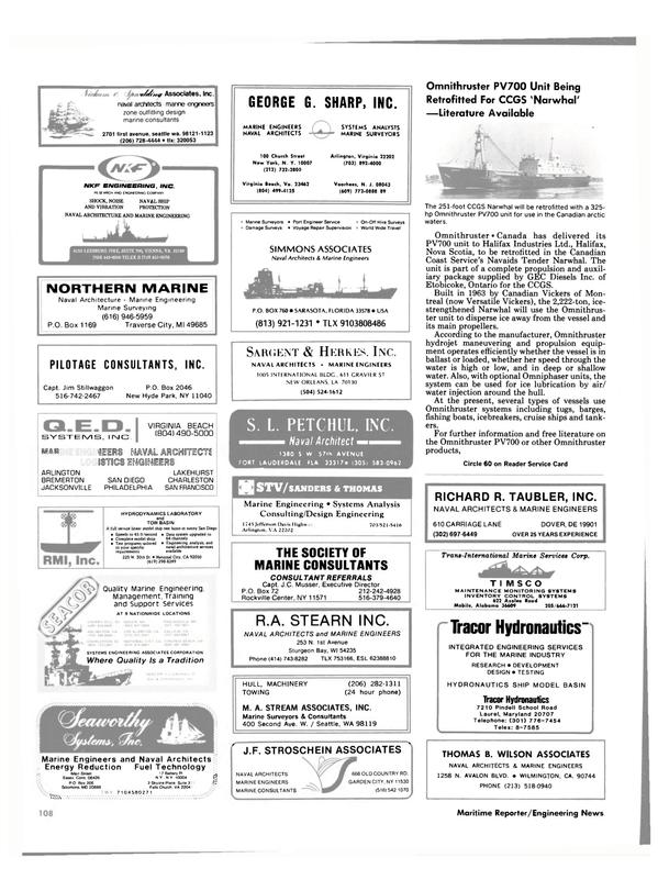 Maritime Reporter Magazine, page 102,  Nov 1985
