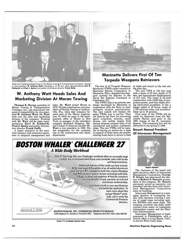 Maritime Reporter Magazine, page 12,  Dec 1985