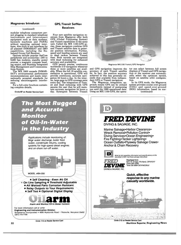 Maritime Reporter Magazine, page 52,  Dec 1985
