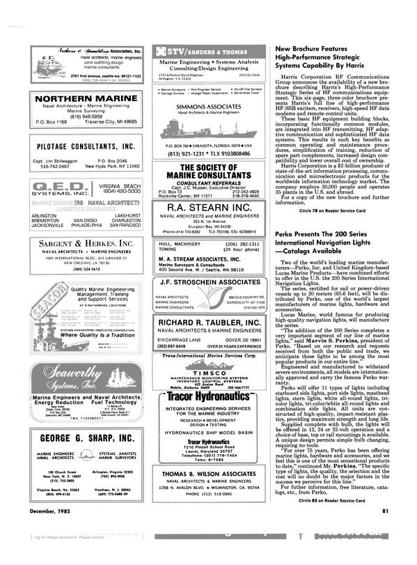 Maritime Reporter Magazine, page 81,  Dec 1985