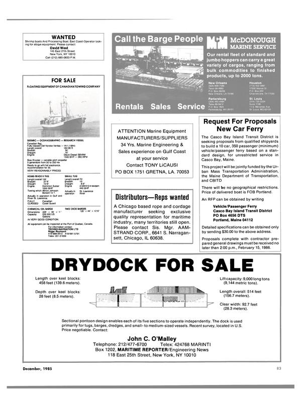 Maritime Reporter Magazine, page 85,  Dec 1985 Illinois