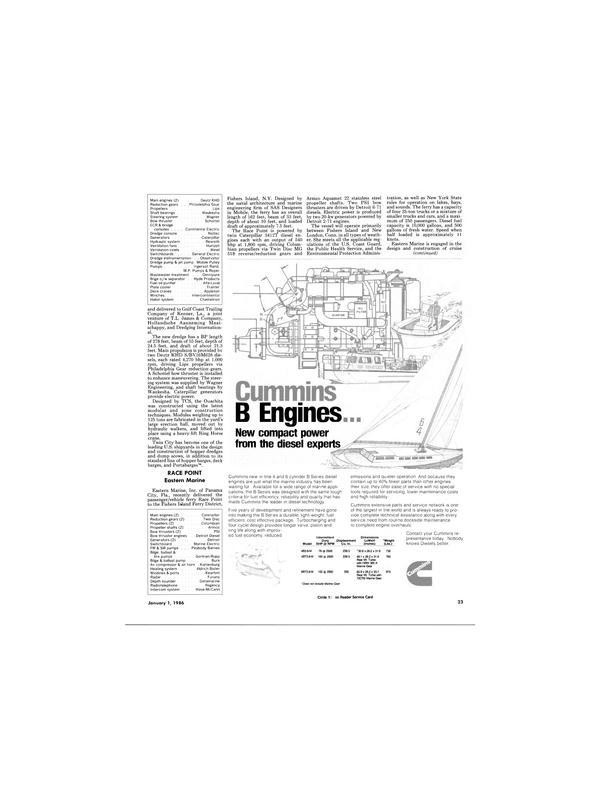 Maritime Reporter Magazine, page 21,  Jan 1986
