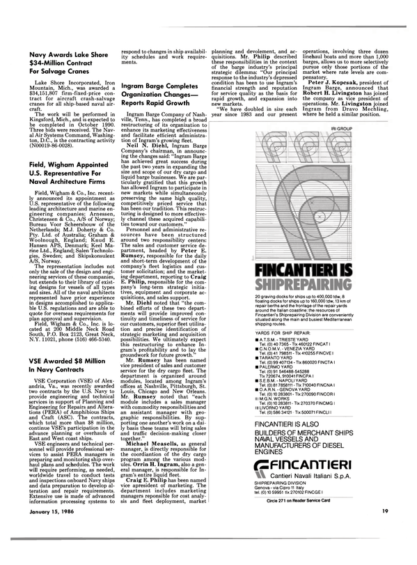 Maritime Reporter Magazine, page 17,  Jan 15, 1986 Tennessee
