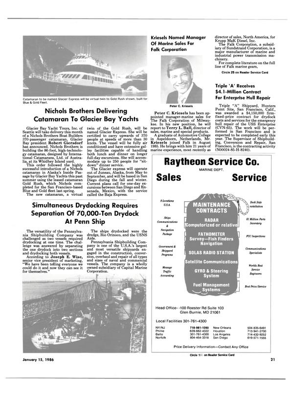 Maritime Reporter Magazine, page 19,  Jan 15, 1986 The Glacier express