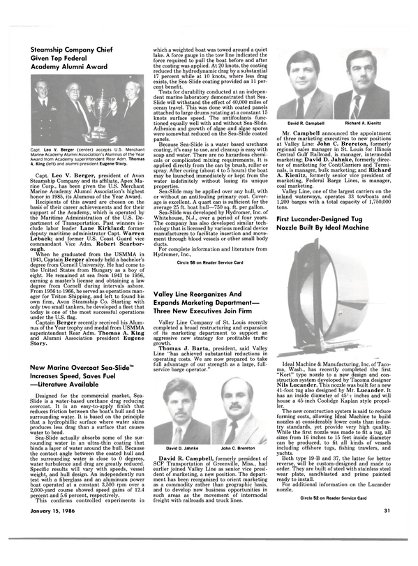 Maritime Reporter Magazine, page 29,  Jan 15, 1986 Illinois
