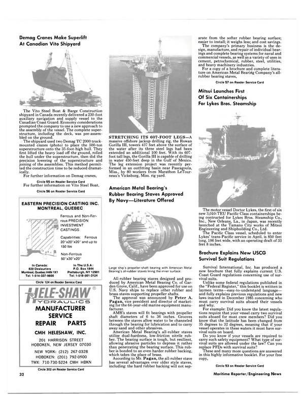 Maritime Reporter Magazine, page 30,  Jan 15, 1986 New York