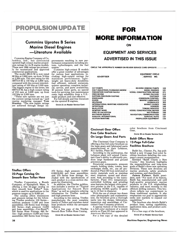Maritime Reporter Magazine, page 36,  Jan 15, 1986