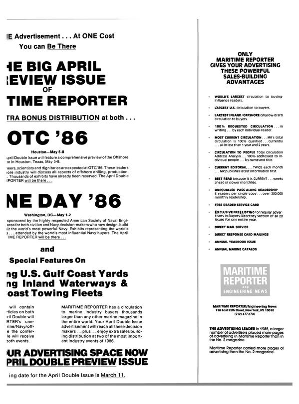 Maritime Reporter Magazine, page 13,  Feb 1986