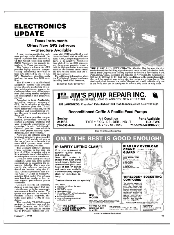 Maritime Reporter Magazine, page 41,  Feb 1986