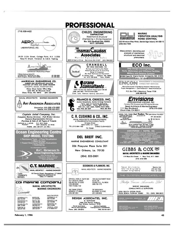 Maritime Reporter Magazine, page 43,  Feb 1986 South Carolina