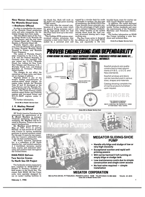 Maritime Reporter Magazine, page 7,  Feb 1986 Pennsylvania
