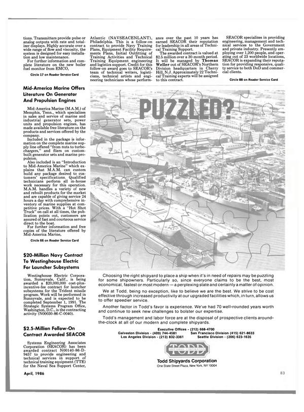 Maritime Reporter Magazine, page 77,  Apr 1986 Thomas Weller