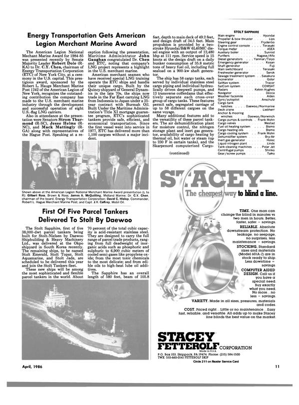 Maritime Reporter Magazine, page 7,  Apr 1986 Pennsylvania
