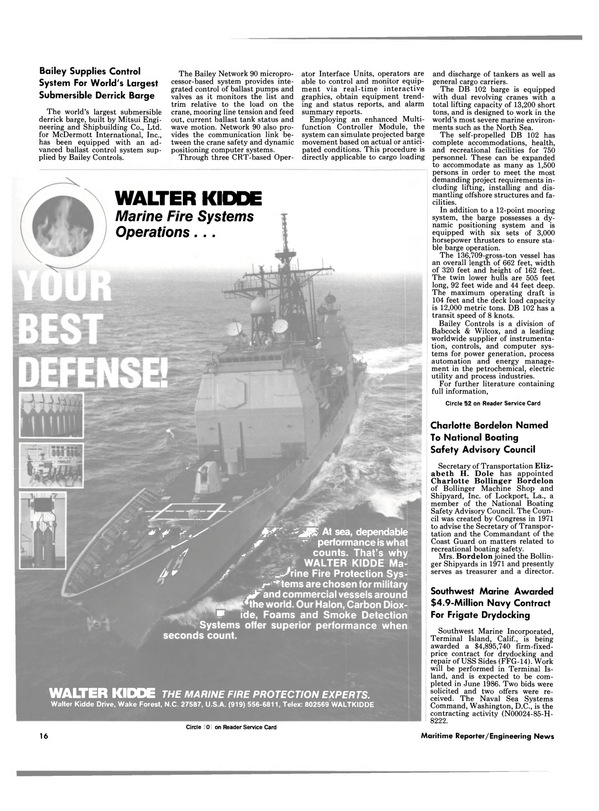 Maritime Reporter Magazine, page 14,  May 1986