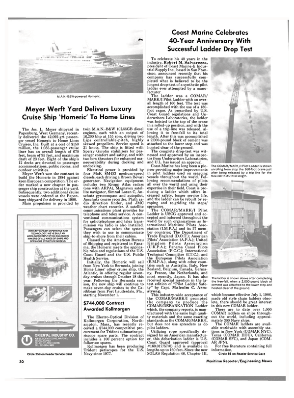 Maritime Reporter Magazine, page 30,  Jul 15, 1986 Massachusetts